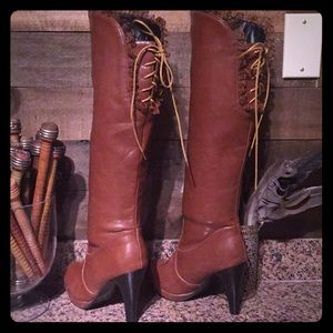 Brown lace tie boots
